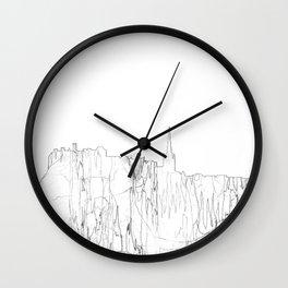 Edinburgh, Scotland UK Skyline B&W - Thin Line Wall Clock