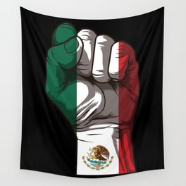 Raised Fist for Mexico | Mexican Flag Wall Tapestry