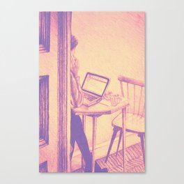 Drawing of woman working on a laptop in a cafe. Illustration Canvas Print