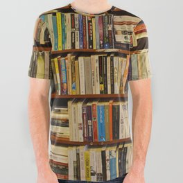 Bookshelf Books Library Bookworm Reading All Over Graphic Tee