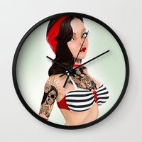 pin up Wall Clocks featuring Pin-Up by KevinART