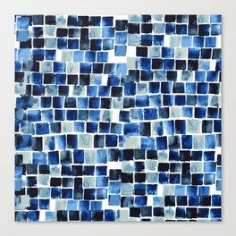 Indigo Blue Watercolor Check Canvas Print