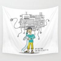 bill Wall Tapestries featuring Electricity Bill by Jyoti Khetan