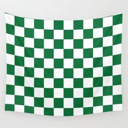 Checkered (Dark Green & White Pattern) Wall Tapestry