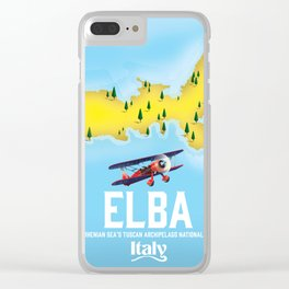Elba, Tyrrhenian Sea ,Tuscan ,Italy travel poster map. Clear iPhone Case