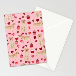Yellow Lab valentines day hearts cupcakes cute labrador retriever Stationery Cards