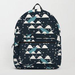 narwhal in ocean blue Backpack