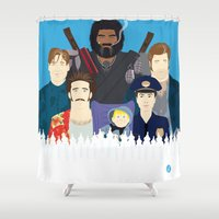 movies Shower Curtains featuring Finding Junior (Faces & Movies) by Alain Bossuyt