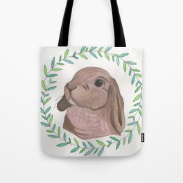 Rabbit in Olive Wreath Tote Bag