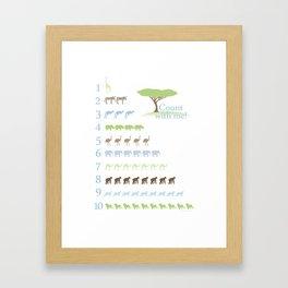Counting Safari Animals - Brody colorway Framed Art Print