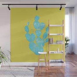Linocut Cactus #1 Desert Blue Wall Mural