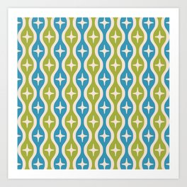 Mid century Modern Bulbous Star Pattern Chartreuse and Cerulean Art Print