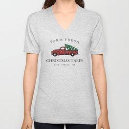 Christmas Tree Farm Vintage Truck Unisex V-Neck