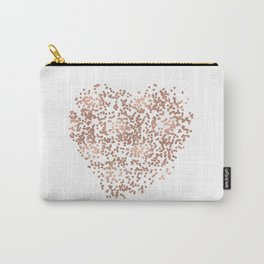 Rose Gold Glam Confetti Heart Carry-All Pouch