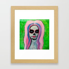 Bubblegum Sugar Skull Framed Art Print