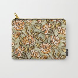 Chalk Pastel Peonies in Soft Apricot and Sage Green Carry-All Pouch