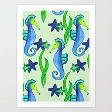 Seahorse Pattern Art Print