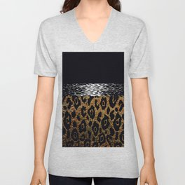 ANIMAL PRINT CHEETAH LEOPARD BLACK WHITE AND GOLDEN BROWN Unisex V-Neck