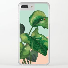Monstera on mint and pink Clear iPhone Case
