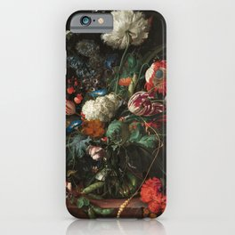 Still Life Parrot Tulips, Peonies, Hibiscus, Hydranga, Periwinkle Flowers in Vase by Jan de Heem iPhone Case