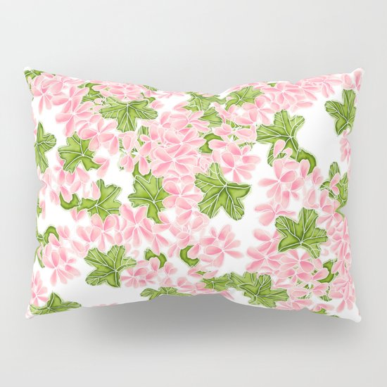 Modern hand painted pink watercolor flowers and green tropical leaf pattern Pillow Sham by Girly ...