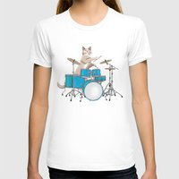 drums T-shirts featuring Cat Playing Drums - Blue by Ornaart
