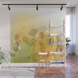 Floral Abstract Line Art Print Design Wall Mural