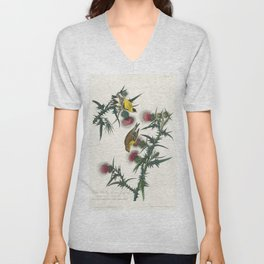 American Goldfinch from Birds of America (1827) by John James Audubon etched by William Home Lizars Unisex V-Neck