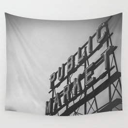 Seattle Pike Place Public Market Black and White Wall Tapestry