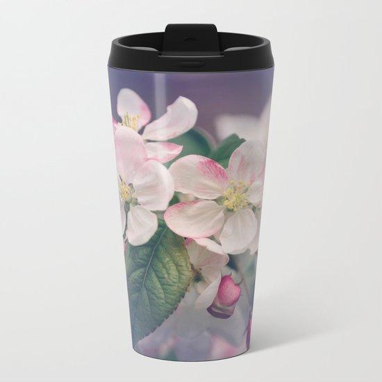 Young Cherry Blossom Flowers Metal Travel Mug