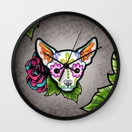 Chihuahua in White - Day of the Dead Sugar Skull Dog Wall Clock