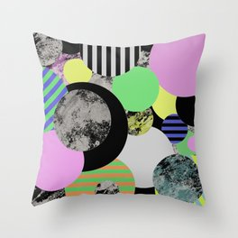 Cluttered Circles - Abstract, Geometric, Pop Art Style Throw Pillow