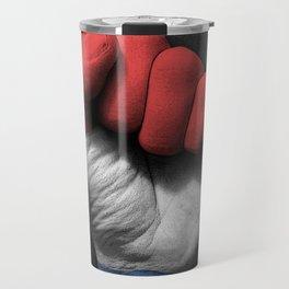 Dutch Flag on a Raised Clenched Fist Travel Mug