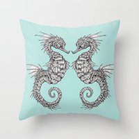 seahorse Throw Pillows featuring seahorse by Caitlin Hackett