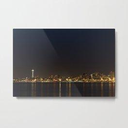 The Seattle, Washington skyline at night Metal Print