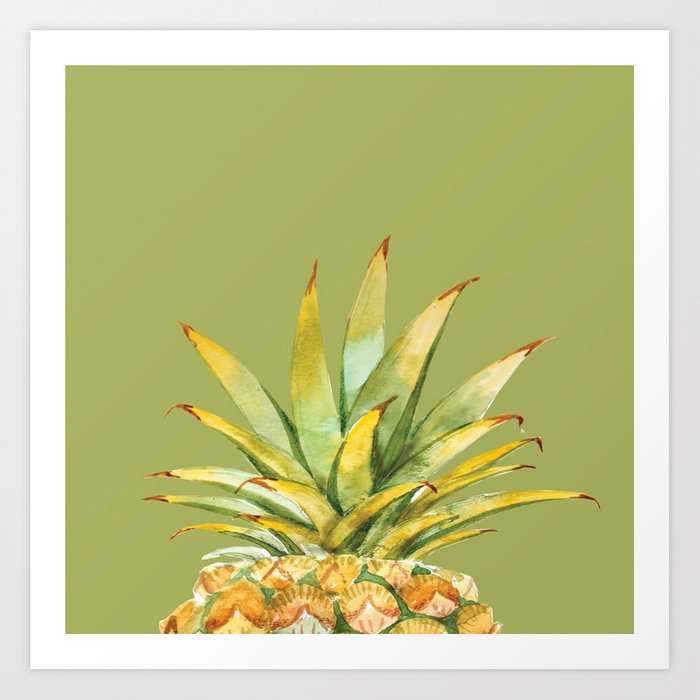 Pineapple On Moss Green Wall Art Art Print by stamplovesink | Society6