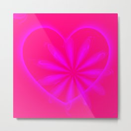 Rose Pink Heart and Floral Pattern Metal Print