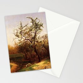 Pear Blossoms 1874 By David Johnson | Reproduction | Romanticism Landscape Painter Stationery Cards