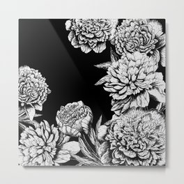 FLOWERS IN BLACK AND WHITE Metal Print