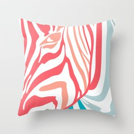 Pink And Blue Zebra Portrait, Animal Photo, Large Printable Photography, Stripes Wall Art, Striped Throw Pillow