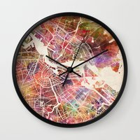 amsterdam Wall Clocks featuring Amsterdam by MapMapMaps.Watercolors