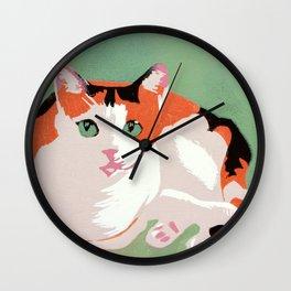 Rainbow the Calico Cat (linocut) Wall Clock