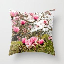 Magnolias Photography, Floral Art, Flower Home Decor, Pink Magnolia in Bloom, San Francisco Botanical Gardens Throw Pillow