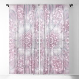 Dreams Mandala in Pink, Grey, Purple and White Sheer Curtain