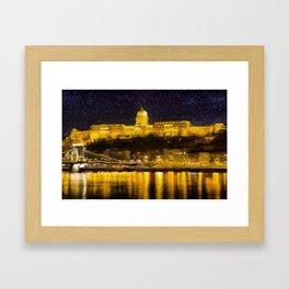 Budapest Chain Bridge And Castle Art Framed Art Print