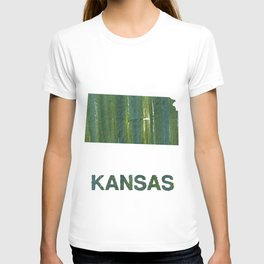 Kansas map outline Deep moss green watercolor T-shirt