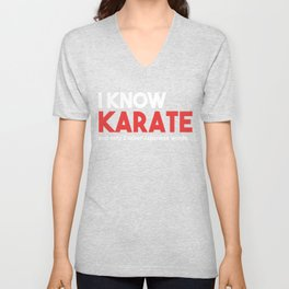 Karate and Two Other Japanese Words Unisex V-Neck