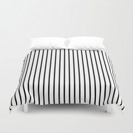 Black Pinstripe On White Pattern Duvet Cover