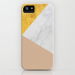 Carrara Marble with Gold and Pantone Hazelnut Color iPhone Case
