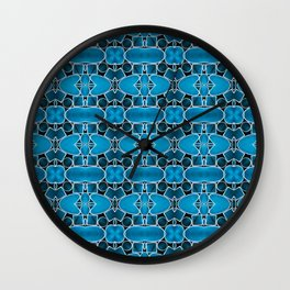 180 - blue, black and metal abstract design Wall Clock